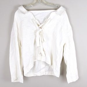 Anthropologie JOA | Ivory Lace Up Blouse - H11